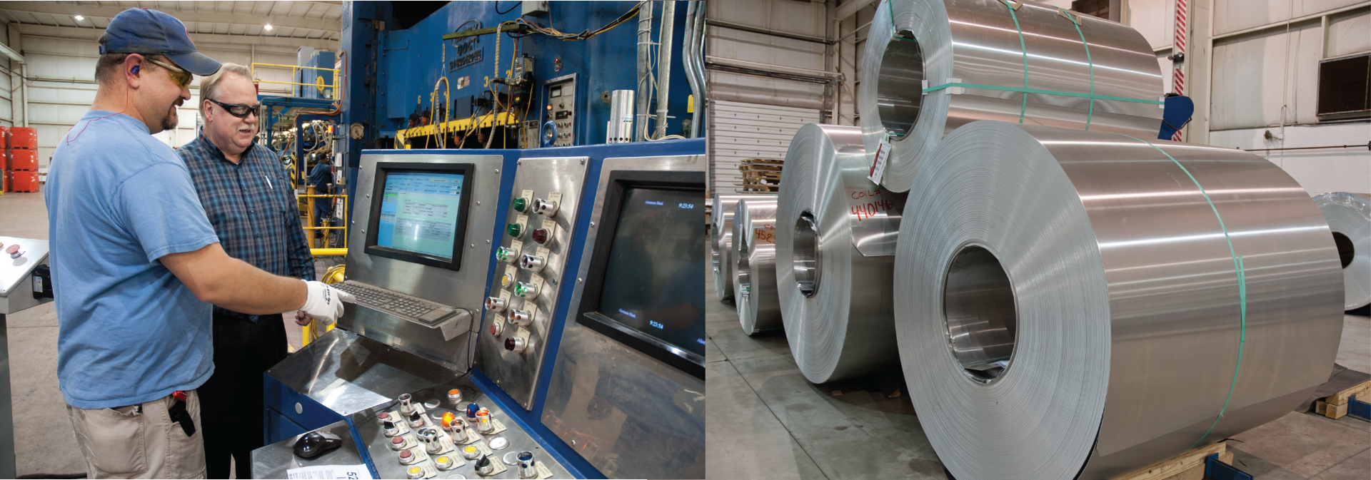 Three photos showing different aspects of manufacturing